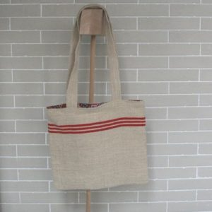 lined tote bag Eugenie in old hemp fabric