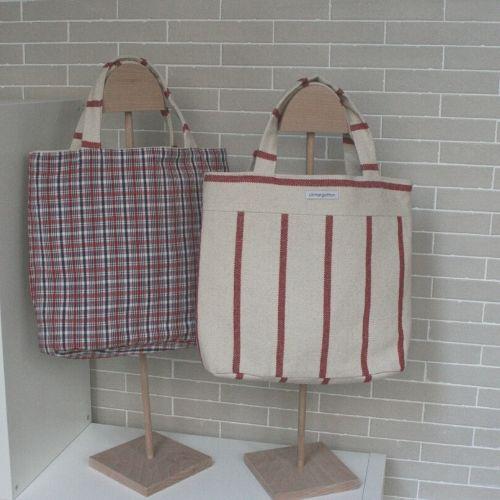 Cabas Madeleine crème rouge et tartan