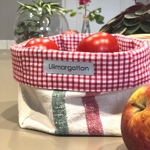 panière auguste en chanvre ancien et coton vichy rouge par lilimargotton
