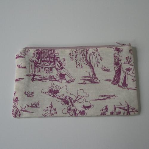 Trousse Olga Empire Toile de Jouy violet lilimargotton
