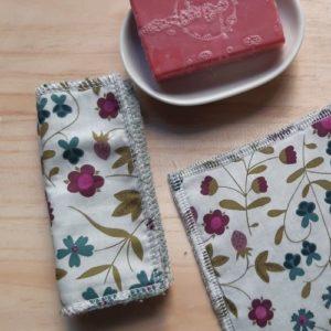 coton carré réutilisable liberty mirabelle prune zéro déchet lilimargotton