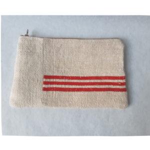 trousse olga chanvre bandes rouges ancien sac à grain création unique lilimargotton
