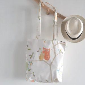 tote bag Eugénie oiseaux et hiboux colorés sélection printemps 2020 lilimargotton coton recyclé