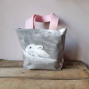 mini cabas lapins de paques gris et rose lilimargotton