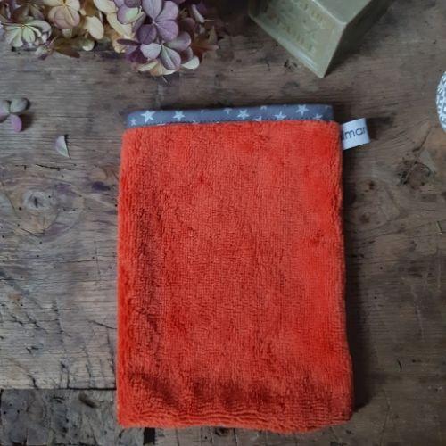 gant eponge bambou lilimargotton orange brulée
